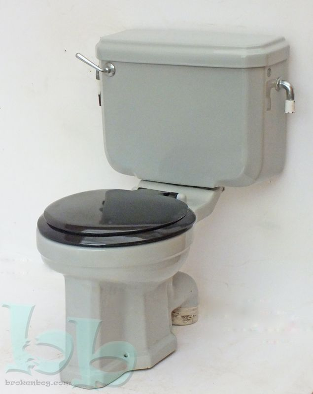 standard vedet art deco wc toilet pan cistern in grey circa 1940 s 50 s. Black Bedroom Furniture Sets. Home Design Ideas